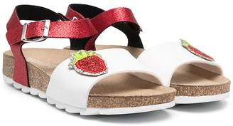 MonnaLisa TEEN glitter strawberry sandals