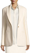 The Row Ibner Stretch Wool One-Button Jacket, Light Beige