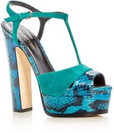 Sergio Rossi Edwige Snakeskin T-Strap Platform Sandals