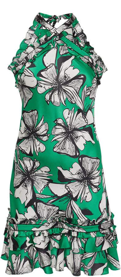 Alexis Erica Floral-Print Satin Halterneck Mini Dress Size: XS