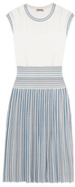 Bottega Veneta Pleated Jacquard-knit Dress - Blue