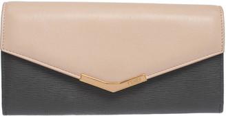 Fendi Grey/Pink Leather Envelope Continental Wallet