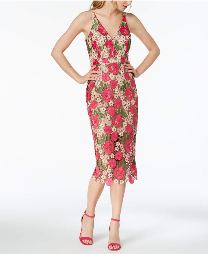 Xscape Evenings Floral-Pattern Lace Midi Dress