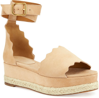 Chloé Scalloped Platform Espadrille Sandals