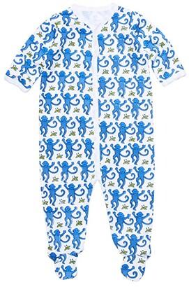 Roller Rabbit Monkey Footie Pajamas (Infant) (Blue) Kid's Jumpsuit & Rompers One Piece