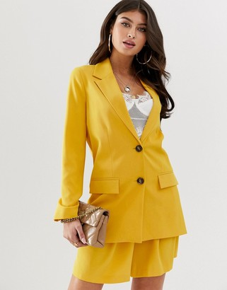 ASOS DESIGN pop mustard soft suit blazer