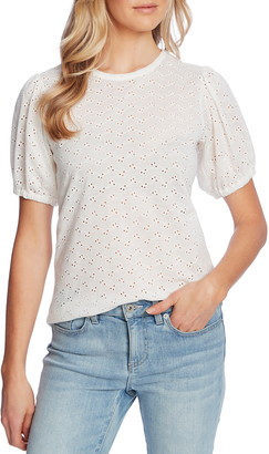 CeCe Puff Sleeve Eyelet Top