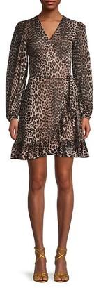 Ganni Animal-Print Mini Wrap Dress