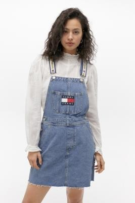 Tommy Jeans X Looney Tunes Denim Pinafore Mini Dress - Blue 7 at Urban Outfitters