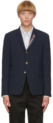 Thom Browne Navy Wool Seersucker Blazer