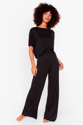 Nasty Gal Womens Leave 'Em on Bed Wide-Leg Trousers Pyjama Set - Black - 6