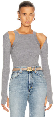 Dion Lee Merino Hybrid Long Sleeve Tank in Heather Grey | FWRD