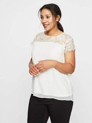 Junarose Chiffon Blouse w/ Lace Top in Snow White Size 28