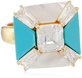 """CZ by Kenneth Jay Lane """"Trend"""" Turquoise Color Asscher Cubic Zirconia Agate Mother-Of-Pearl Geometric Adjustable Ring, Size 5-7, 6 CTTW"""