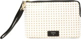 Fossil Women's Large Zip Leather Wristlet - White W/Gold