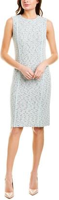 St. John Wool-Blend Silk-Trim Sheath Dress