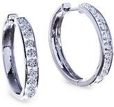 Lord & Taylor 14K White Gold Diamond Hoop Earrings, 2 TCW