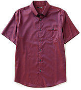 Murano San Francisco Collection Short-Sleeve Slim-Fit Pocket Button-Down Basket Dobby Shirt