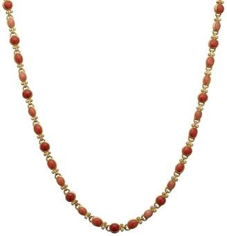 Gurhan 24kt gold diamond Rune coral necklace
