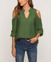 Fee Et Rit Fee et rit Women's Blouses Army - Army Green Cutout V-Neck Top - Women & Plus