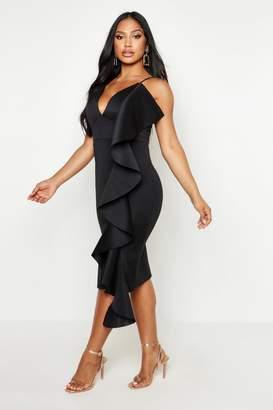 boohoo Ruffle Side Scuba Dress