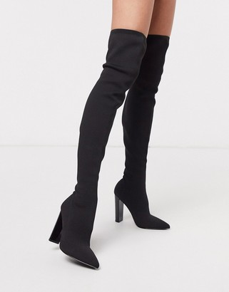 ASOS DESIGN Kudos knitted block heel thigh high boots in black