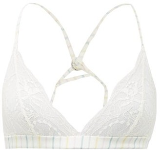 Fleur of England Happiness Striped Satin And Lace Bra - Womens - Multi Stripe