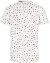 River Island Boys white feather short sleeve grandad shirt