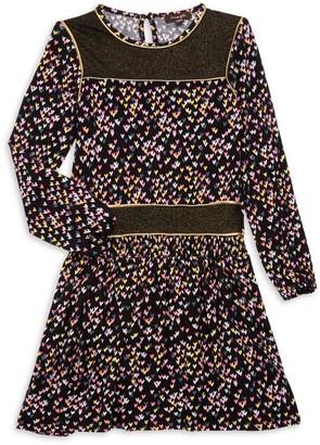 Imoga Little Girl's & Girl's Heart-Print Long-Sleeve Dress