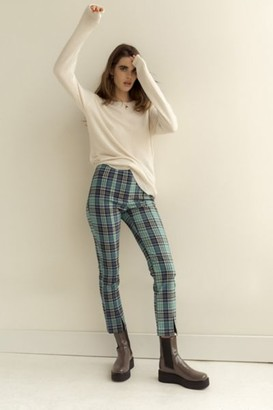 Urban Outfitters Tessa Plaid Notched Cropped High-Waisted Pant