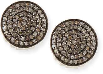 Margo Morrison Pave Diamond Disc Stud Earrings