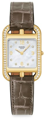 Hermes Cape Cod 29MM Diamond, 18K Yellow Gold & Alligator Strap Watch