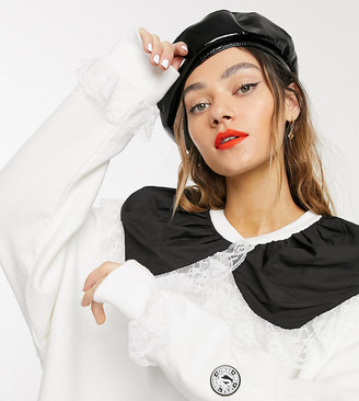 Little sunny bite oversized sweat dress with contrast frill collar