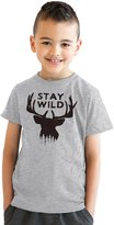 Crazy Dog T-shirts Crazy Dog Tshirts Youth Stay Wild Funny Outdoors Camping Wildlife Deer Antlers T shirt for Kids -M