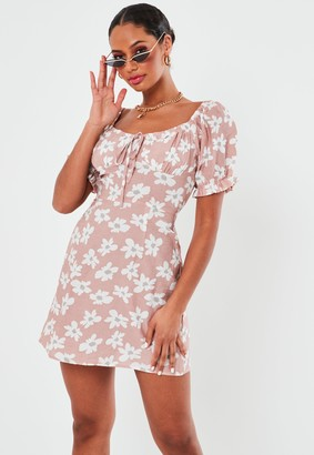 Missguided Blush Floral Print A Line Milkmaid Mini Dress