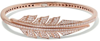 Stephen Webster 18kt rose gold Magnipheasant diamond pave open feather bangle