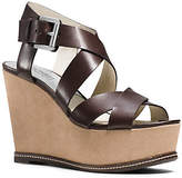 Michael Kors Celia Leather And Suede Wedge
