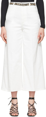 Stella McCartney White Denim Cropped Wide-Leg Jeans