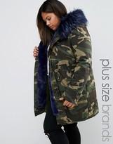 Boohoo Plus Contrast Faux Fur Parka