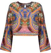 Camilla Cropped Printed Silk-Chiffon Top