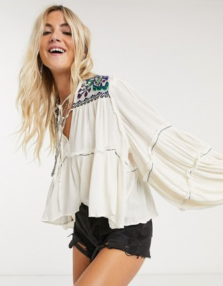 Free People in vivid color top