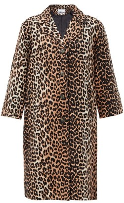 Ganni Single-breasted Leopard-print Linen-blend Coat - Leopard