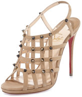 Christian Louboutin Guinievre Caged Suede Red Sole Sandal, Noisette/Corne