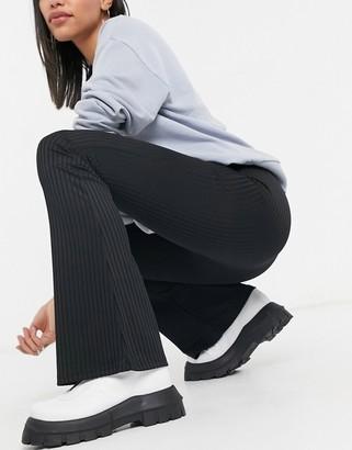 Topshop co-ord skinny rib flare trousers in black