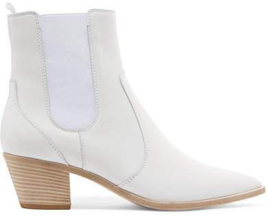 Gianvito Rossi Austin 45 Leather Chelsea Boots - White