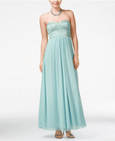 Speechless Juniors' Strapless Lace Embellished Gown