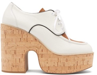 Miu Miu Grained-leather Wedge-platform Shoes - White
