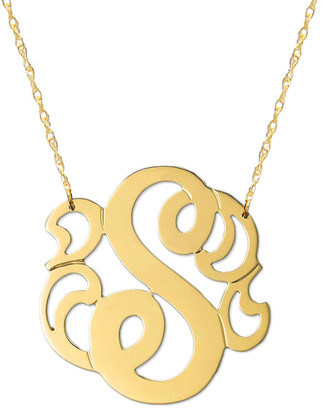 Jane Basch 14K A-Z Swirly Initial Necklace