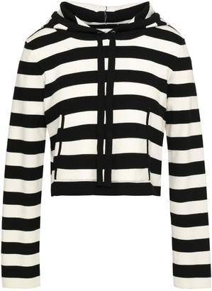 Milly Striped Ribbed-knit Hooded Top