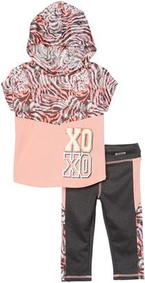 XOXO Girls' Gymnastics Leggings PEACH/ - Peach 'XOXO' Hooded Top & Light Heather Charcoal Leggings - Girls